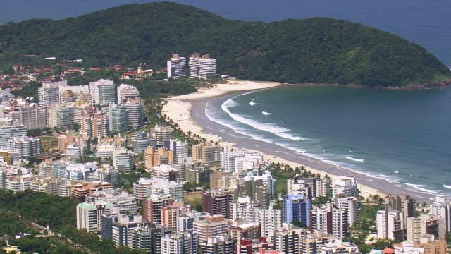 Ms Aerial View Of City With Coastline Sao Paulo Brazil ...