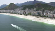 WS AERIAL View of city with mountain range and coastline / Rio de Janeiro, Brazil
