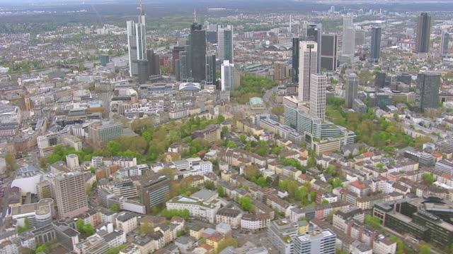 WS AERIAL View of city with skyscrapers / Frankfurt Main, Hesse, Germany