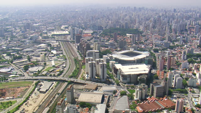 WS AERIAL View of City with stadium / Sao Paulo, Brazil