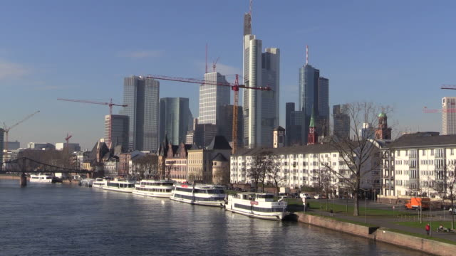 WS View of cityscae near Main river / Frankfurt, Main, Hesse, Germany