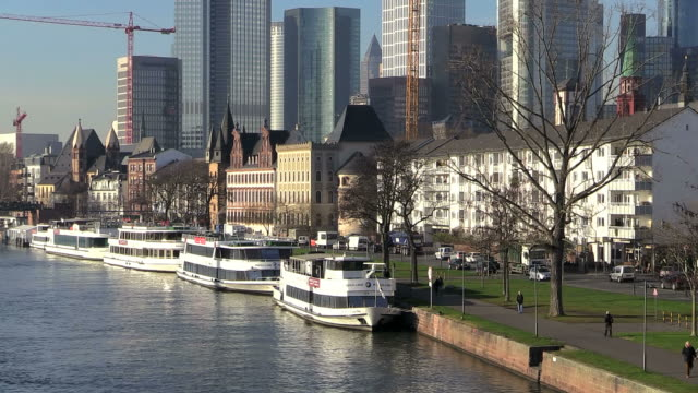 MS View of cityscae near Main river / Frankfurt, Main, Hesse, Germany