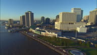 WS POV ZO AERIAL View of cityscape along waterfront at Mississippi River / New Orleans, Louisiana, USA