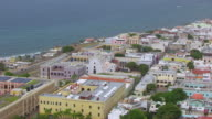 WS AERIAL POV View of cityscape and San Jose Church / Old San Juan, Puerto Rico, United States