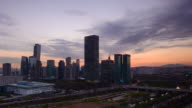 EWS T/L View of cityscape in yeouido business district at Sun rising / Seoul, South Korea