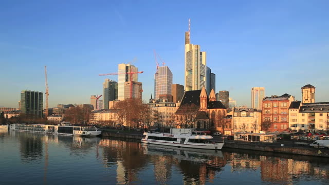WS View of cityscape near Main river / Frankfurt, Main, Hesse, Germany
