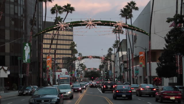 MS View of cityscape with Christmas lights on Wilshire Blvd / Beverly Hills, California, USA