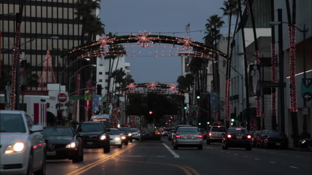 WS View of cityscape with Christmas lights on Wilshire Blvd / Beverly Hills, California, USA