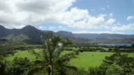 WS PAN View of Clouds moving over landscape of Hanalei bay / Kauai, Hawaii, United States