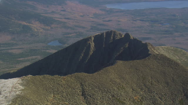 WS AERIAL ZI ZO PAN View of clouds on Mount Katahdin / Maine, United States