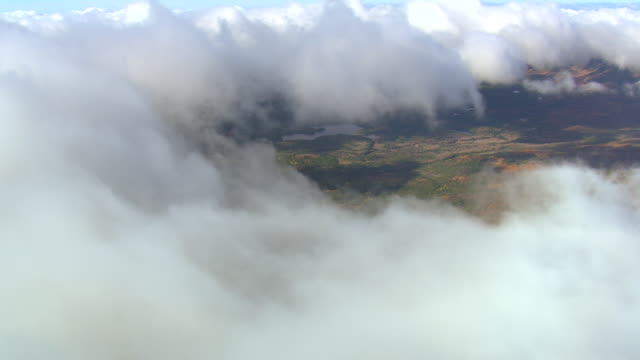 WS AERIAL ZI ZO PAN View of clouds over Baxter State Park / Maine, United States