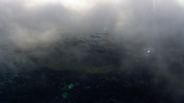 WS AERIAL View of clouds over Skeidararsandur abstractions / Iceland