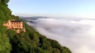WS View of clouds resting at Klause in Kastel Staadt / Kastel-Staadt, Saar Valley, Rhineland Palatinate, Germany