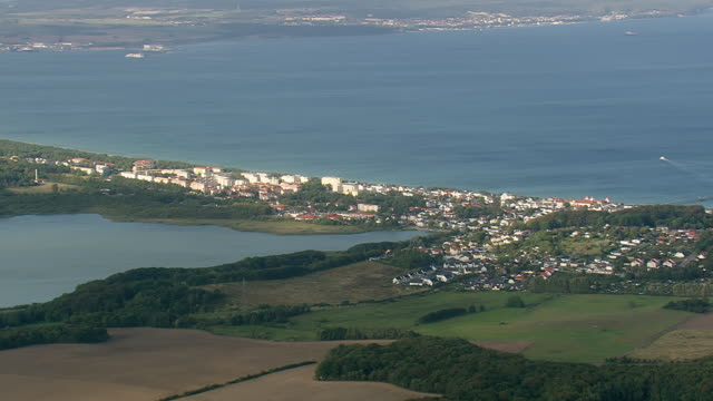 WS AERIAL View of coastline and town at Binz / Germany