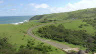 WS AERIAL View of coastline / Durban, Kwazulu Natal, South Africa