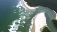 MS AERIAL View of coastline / Sao Paulo, Brazil