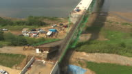 WS AERIAL ZI ZO View of Collapsed Bridge by Heavy Rainfall / Paju, Kyonggi-Do Province, South Korea
