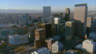 WS PAN AERIAL View of Colorado State Capitol Building around central buildings of downtown Denver / Denver, Colorado, USA