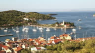 WS View of colorful Vis harbor town / Vis, Croatia