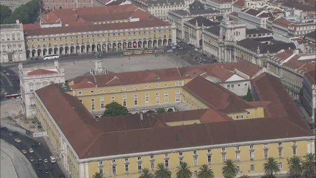 WS POV View of Comercio square / Lisbon, Portugal