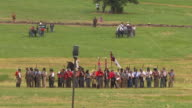 WS View of Confederate soldiers stand ready for battle at Gettysburg / Gettysburg, Virginia, United States