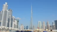 WS View of Construction and new skyline of amazing Dubai UAE with world's tallest building Burj Khalifa with traffic in Middle East in Gulf States / Dubai, United Arab Emirates