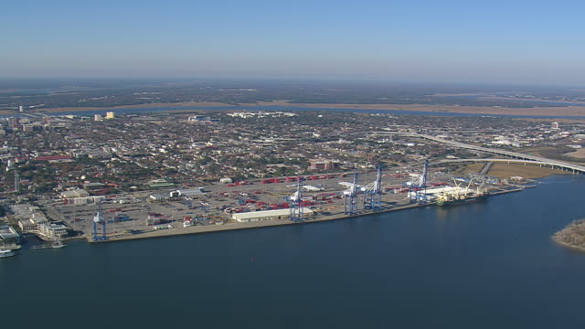 WS AERIAL View of container port at Charleston city / South Carolina, United States