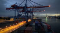 WS T/L POV View of container vessel moving at container terminal in river Elbe, harbour of Hamburg, Germany / Hamburg, Germany