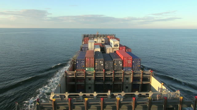 WS POV View of container vessel on Baltic Sea near Gdynia / Baltic Sea, Poland