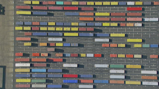 WS AERIAL View of containers on dock / Sydney, New South Wales, Australia