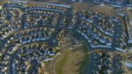 WS POV AERIAL View of cookie-cutter homes in Denver suburbs / Denver, Colorado, USA