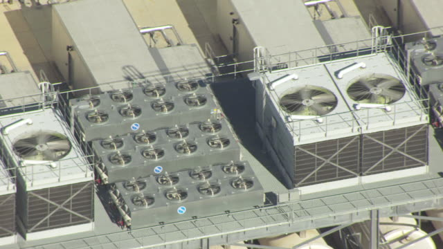 WS AERIAL View of Cooling units on rooftop of data center in Mayes  county / Oklahoma, United States