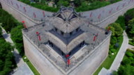AERIAL View of corner tower of city wall and cityscape/ Xi'an, Shaanxi, China