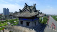 AERIAL View of corner tower of city wall / Xi'an, Shaanxi, China