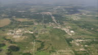 WS AERIAL View of Corsaicana town south of Dallas / Texas, United States