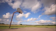 WS PAN T/L View of court with basketball hoop / Picher, Oklahoma, USA
