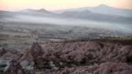 WS T/L View of Covering by Fog Red Valley in Cappadocia Turkey / Goremel, Turkey