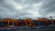 WS T/L View of Crane and Cargo Container in Sinhangman / Busan, South Korea