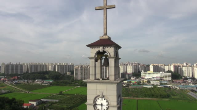 WS AERIAL View of cross on top of building / South Korea