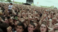 MS PAN SLO MO View of crowd at Sonisphere Festival / Knebworth, Hertfordshire, UK
