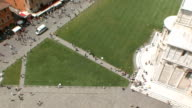 WS View of crowd in Cathedral Square from top of Leaning Tower / Pisa, Tuscany, Italy
