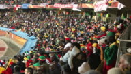WS View of crowd in stadium / Rustenburg,  Northern Province, South Africa, AUDIO