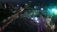 WS T/L View of Crowd is gathering into Seoul Cityhall Plaza for Psy Concert / Seoul, South Korea