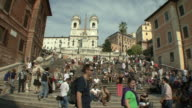 WS View of crowd on Spanish Steps / Rome, Italy