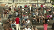 WS PAN View of crowds on Spanish Steps / Rome, Italy