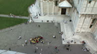 WS View of crowds outside of Leaning Tower of Basilica / Pisa, Tuscany, Italy