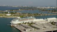 WS POV AERIAL View of Cruise at harbor with skyline in background / Miami, Florida, USA