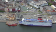 MS AERIAL ZO View of cruise on harbor at sea / Kiel, Schleswig Holstein