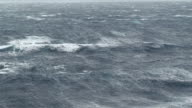 WS View of Cruise Ship in heavy stormy Sea / Sea, New Zealand