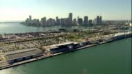 WS POV AERIAL View of cruise ships and skyline / Miami, Florida, USA